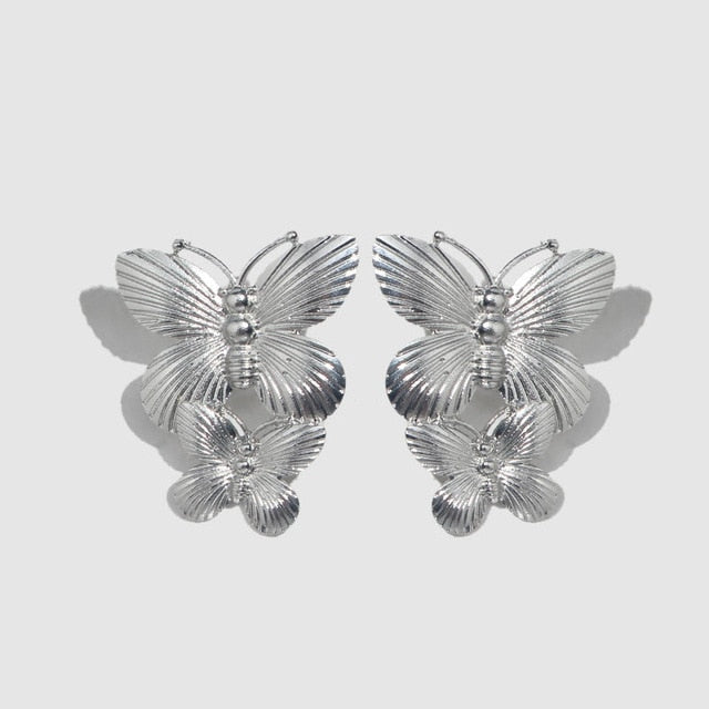 Geometric Long Stud Earrings Vintage Flower or Butterfly Gold, Silver Color Jewelry - TulleLux Bridal Crowns &  Accessories