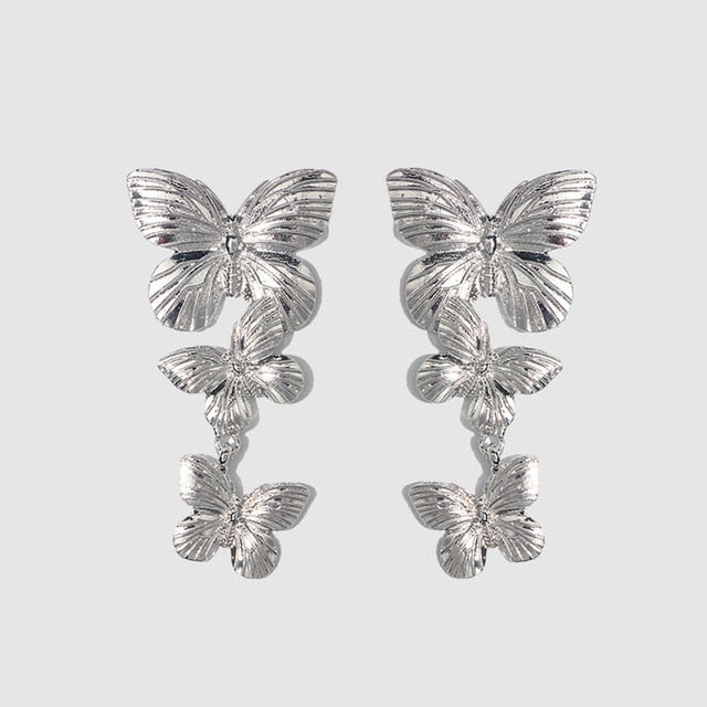 Geometric Long Stud Earrings Vintage Flower or Butterfly Gold, Silver Color Jewelry
