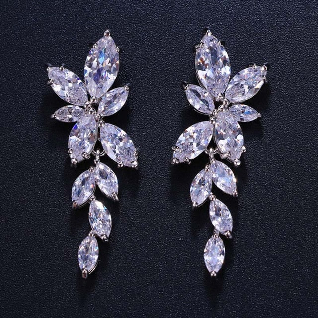 Marquise Cut Flower Cubic Zirconia Crystal Long Drop Earrings  Leaf  Bridal Wedding Jewelry