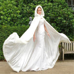 Long Faux Fur Trim Satin White,Ivory Bridal Hooded Cloak Wedding Cape Winter Wedding Dress Shawl Jacket