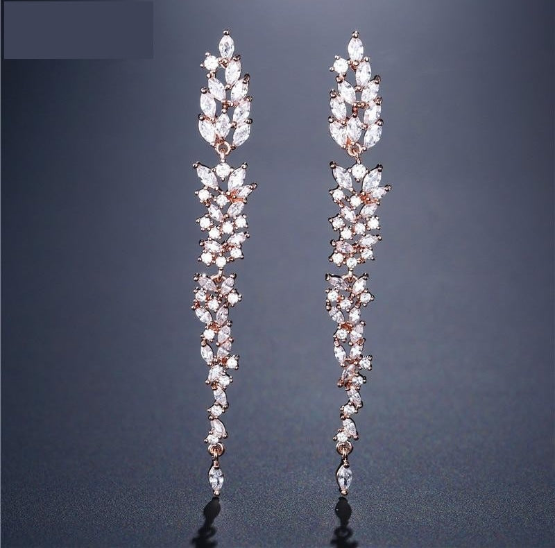 Exquisite Wedding Design Leaf Ear Line Long Dangle Drop Earrings