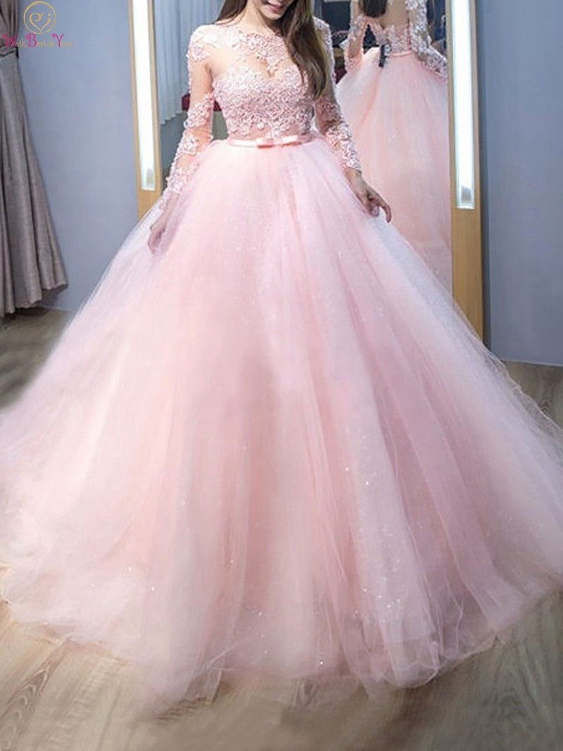 Quinceanera Dresses Scoop Neck Floor Length Long Sleeve Appliques Ball Gown