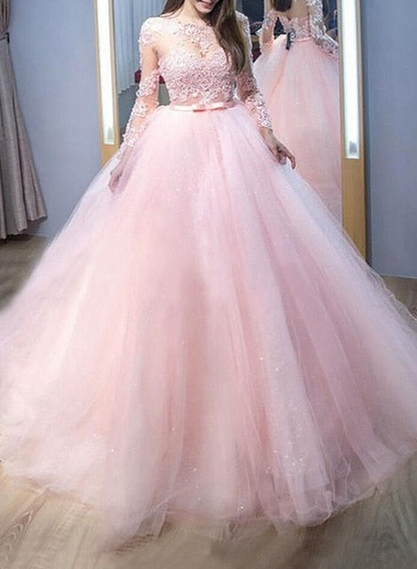 Quinceanera Dresses Scoop Neck Floor Length Long Sleeve Appliques Ball Gown - TulleLux Bridal Crowns &  Accessories