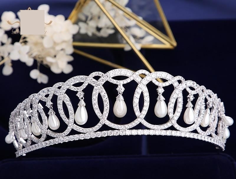 Princess Diana Wedding Tiaras Crystals Zircon Baroque Bridal Crowns Wedding Hair Accessories