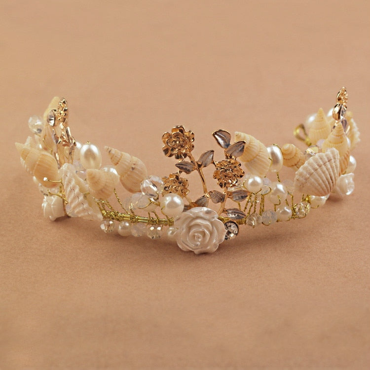 Mermaid Headband Pearl Shell Crown for Bridesmaid Beach Wedding Hair Accessories