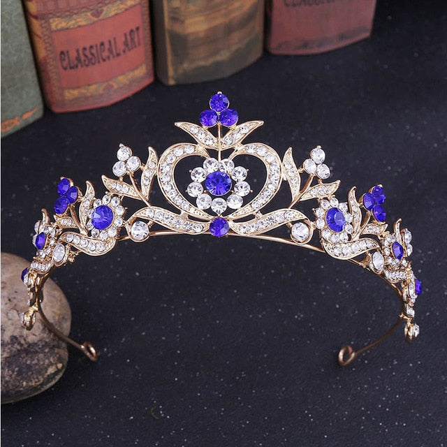 Baroque Tiaras Crown Wedding Crystal Flower Headdress Bridal Hair Jewelry
