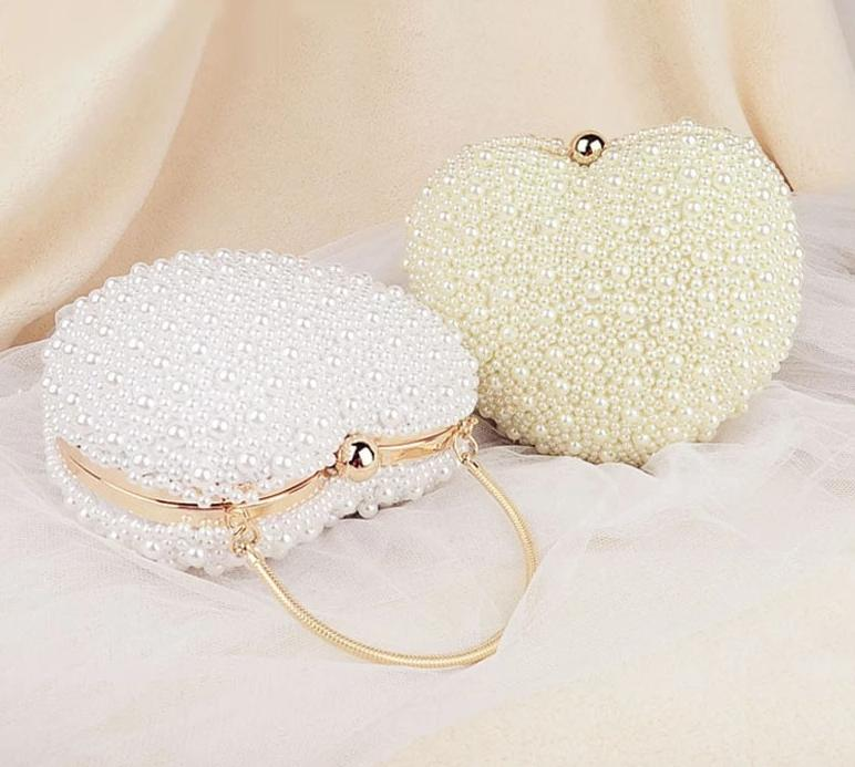 Luxecho White/ivory Pearl Bag Evening  Day Clutch Wedding Party Bag