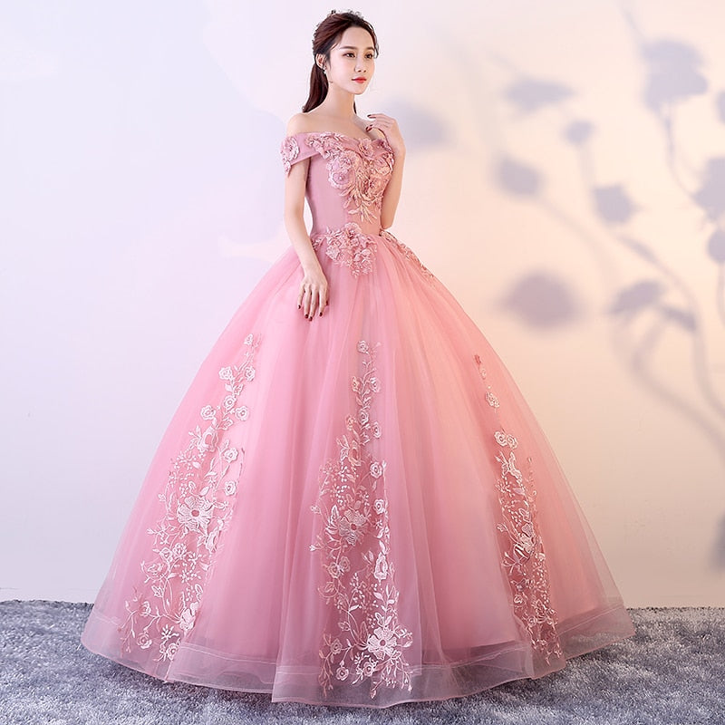 Pink Quinceanera Dress Off The Shoulder Appliques Beading Vestidos De Gala Ball Gown