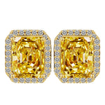 Big Square Yellow Crystal Stud Earrings Fashion Jewelry