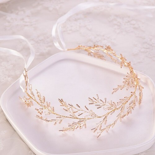 Bead Headband Gold Hair Vine Hairband Bride Tiara Wedding Hair Jewelry
