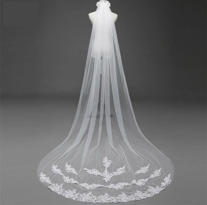 Cathedral  Lace Edge Bridal Veil with Comb  Mantilla Wedding Veil