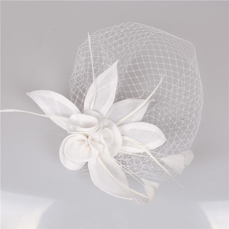 Wedding Delicate Headwear  Fascinator Veil Feather Hat Brides Fashion Accessory
