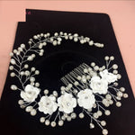 Bridal Floral Hair Comb Headband with Pearl Accents Wedding Accessory