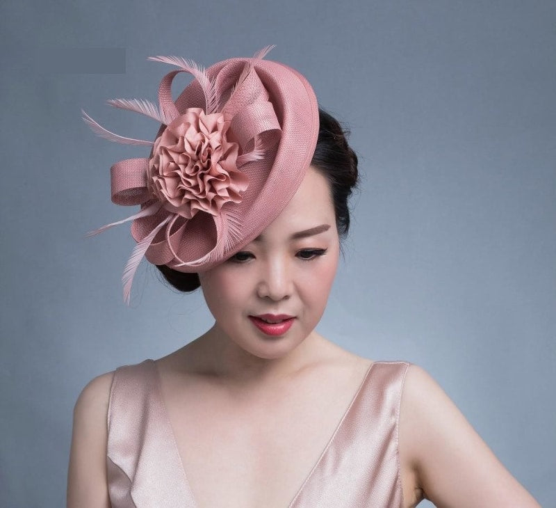 Luxury Women Fascinator Headdress Flower Feather Bride Headwear