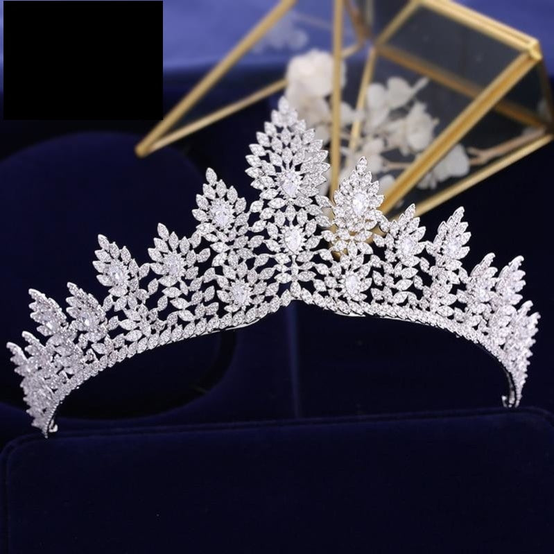 Full Zircon Crystal Brides Tiara Crown Silver Wedding Hairbands