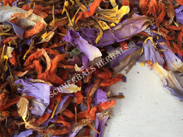 Dried Herbal Blend, 50/50 Blue Lotus, Nymphaea caerulea, Klip Dagga, Leonotis nepetifolia, for sale from Schmerbals Herbals