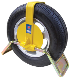 Bulldog QD44 Wheel Clamp fitted on a trailer wheel