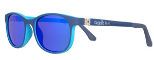 Light blue lining, stylish sunnies, flex hinges, blue lenses, stylish kids sunglasses.