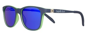 Dark blue children's sunglasses, neon green, two toned sunglasses for kids, flex hinges, blue lenses.