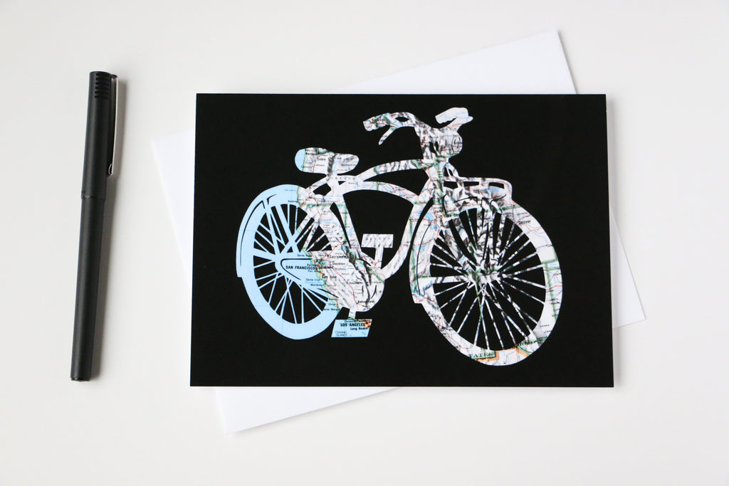 Western U.S. bicycle map art greeting card by Granny Panty Designs