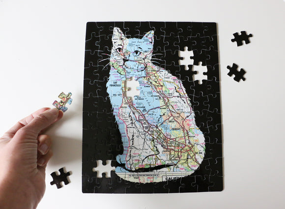 Feline Fine Bay Area Map Cat Puzzle