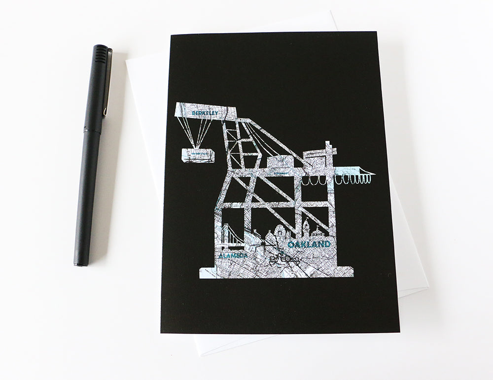 East Bay Oakland shipping crane artwork greeting card