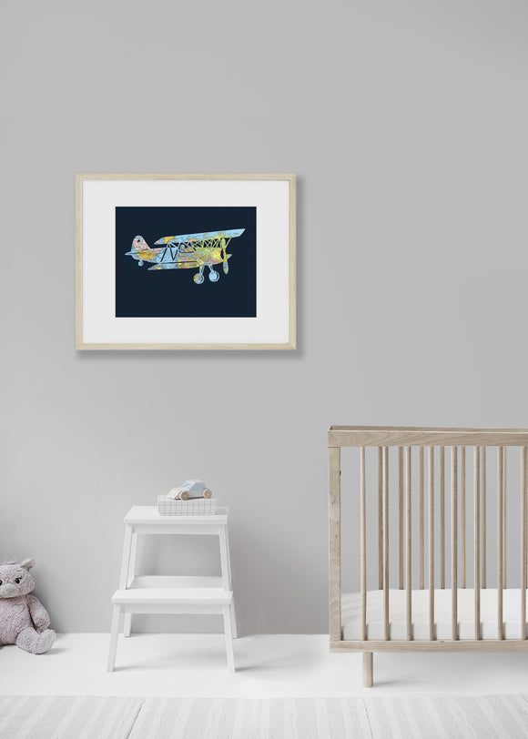 Vintage Airplane world map artwork by Granny Panty Designs
