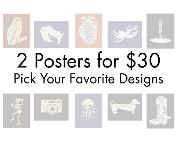 Buy Any Two Map Art Posters for 30