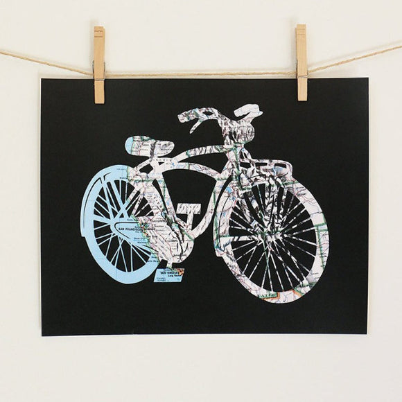United States bicycle map art by Granny Panty Designs