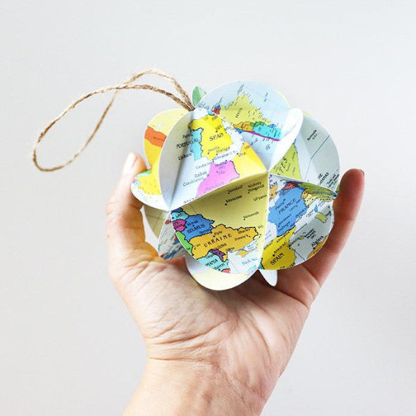 DIY world map ornament kit by Granny Panty Designs