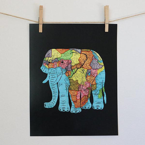 African Elephant Map Art by Granny Panty Designs