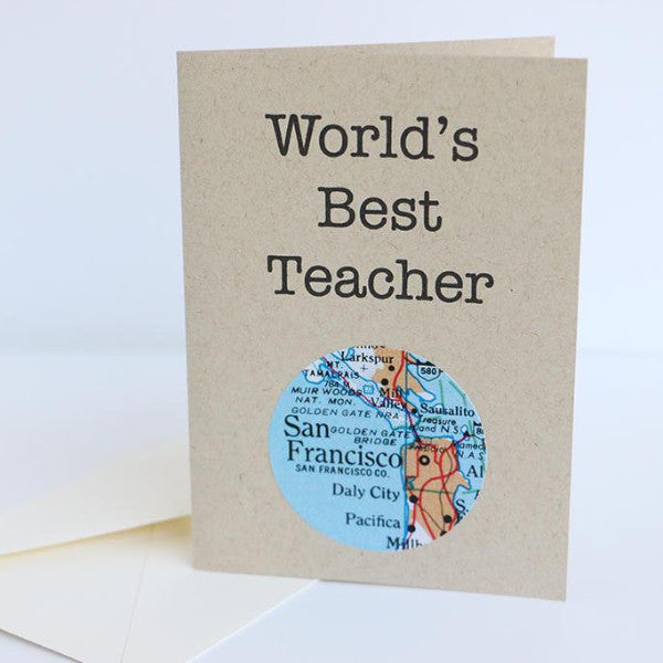 World's Best Teacher Mini Map Card on map code, map label, map of bern and dreilinden, map pen, map color, map of croom motorcycle area, map button, map frame, map table, map beach, map list, map plastic, map craft,