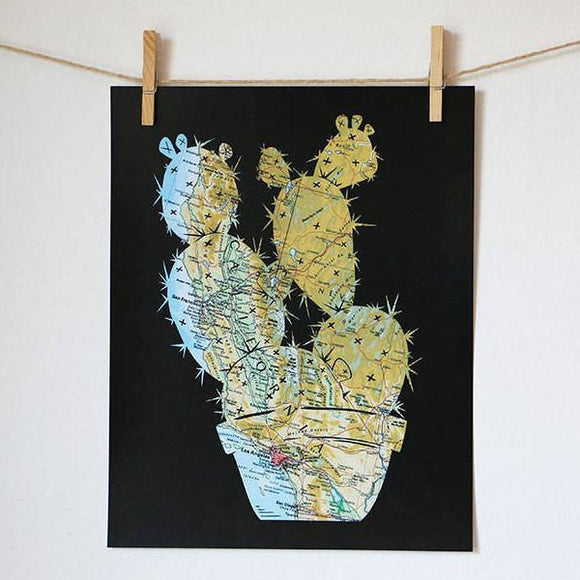 California Cactus Prickly Pear Artwork by Granny Panty Designs