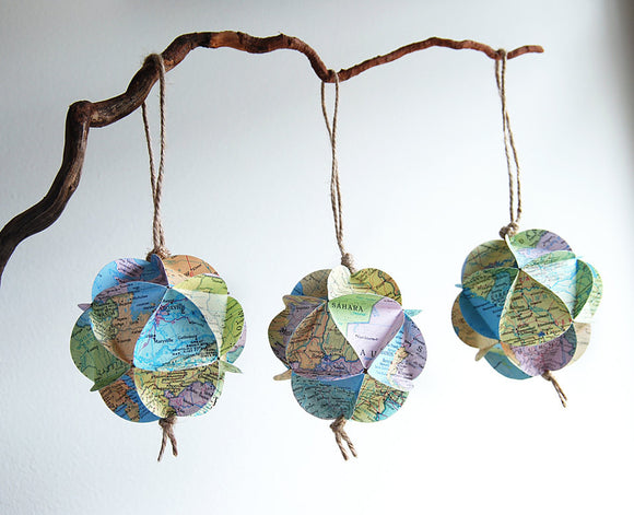 Custom map ornament by Granny Panty Designs