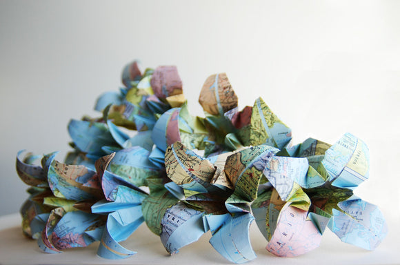 Origami map flowers by Granny Panty Designs