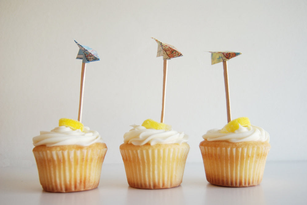 Paper Airplane Map Cupcake Toppers