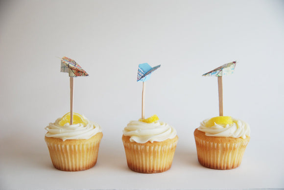Map paper airplane cupcake toppers by Granny Panty Designs