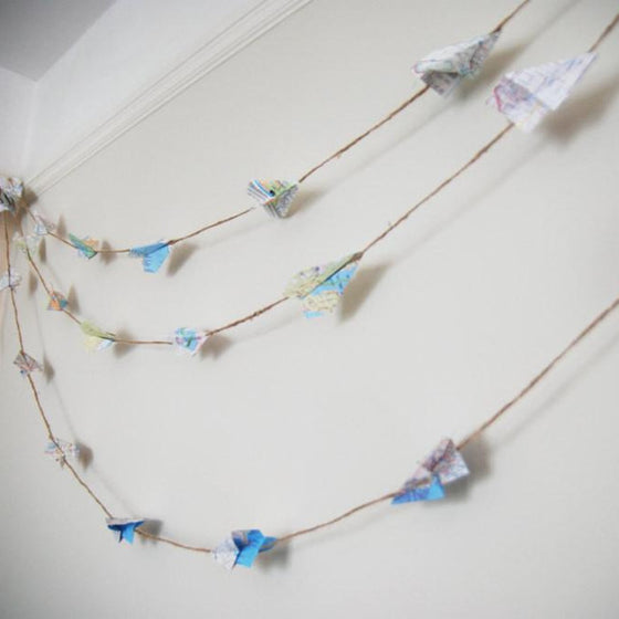 Map paper airplane garland by Granny Panty Designs