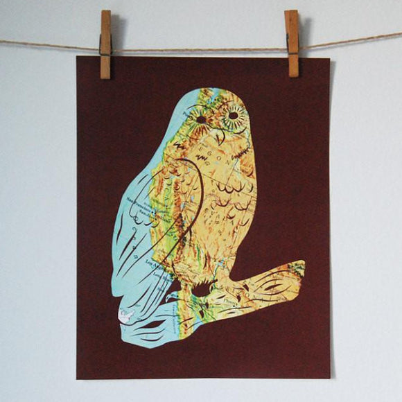 West Coast Map art owl by Granny Panty Designs