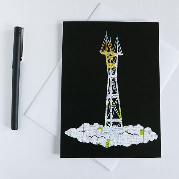 San Francisco Sutro Tower Map Art card by Granny Panty Designs