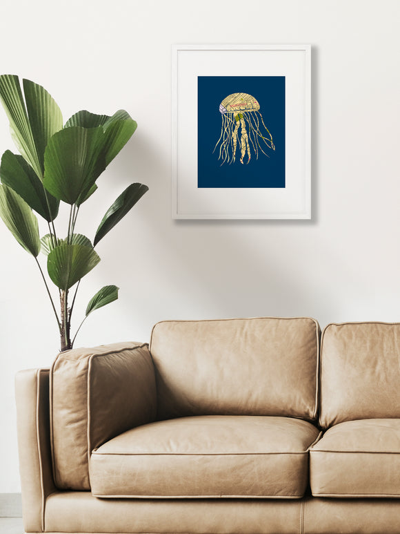 Monterey Jellyfish Map Art Print by Granny Panty Designs