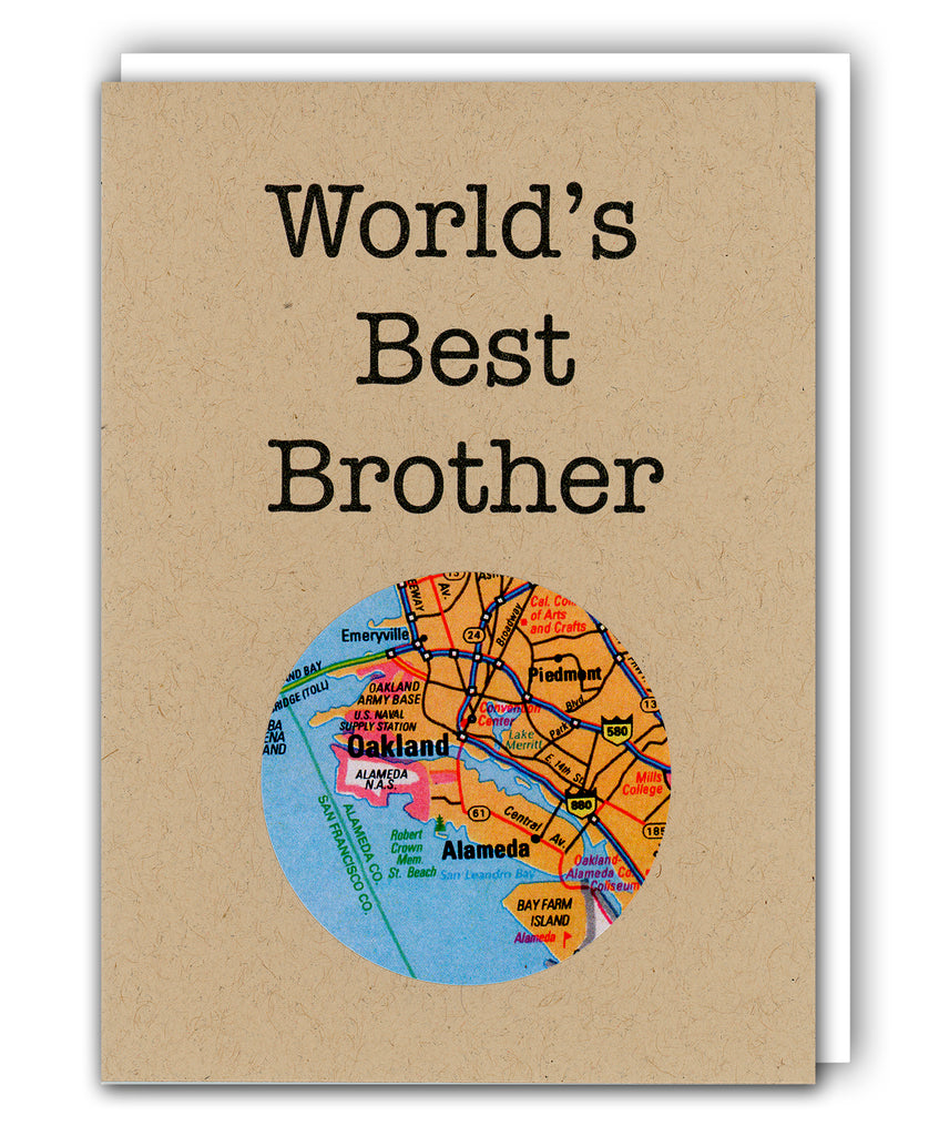 World's Best Brother Mini Map Card