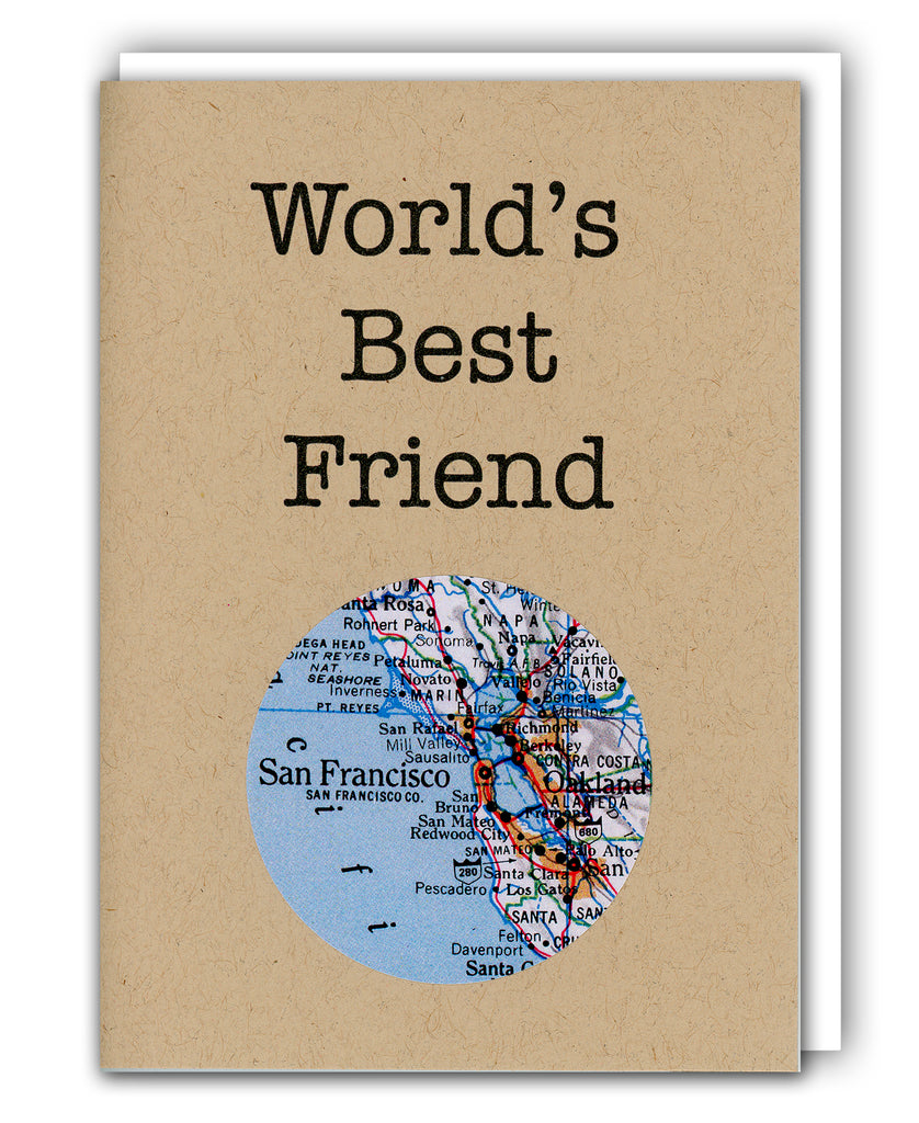 worlds best friend greeting card with map
