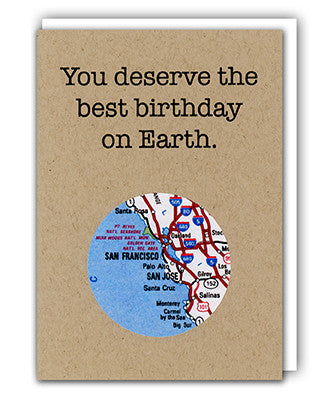Birthday recycled map greeting card by Granny Panty Designs