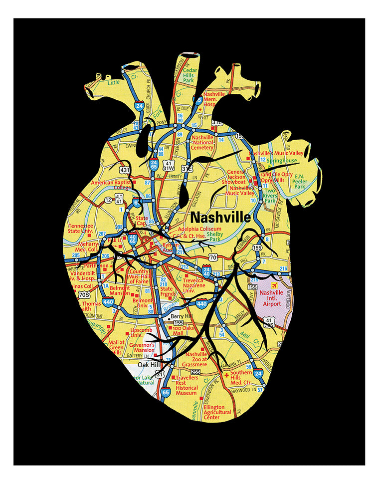 Nashville Tennessee anatomical heart print black