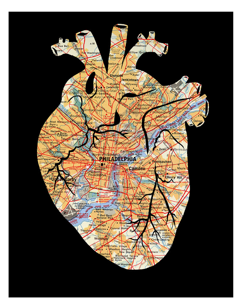 11x14 Philadelphia map anatomical heart wall art