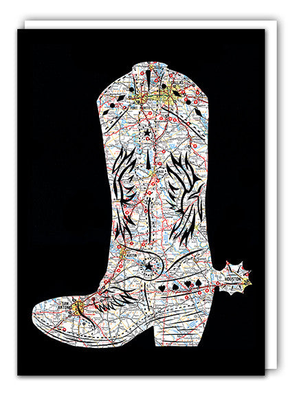 Texas map art cowboy boot greeting card by Granny Panty Designs