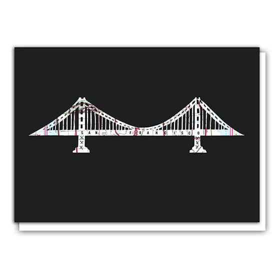 Golden Gate Bridge map art greeting card by Granny Panty Designs