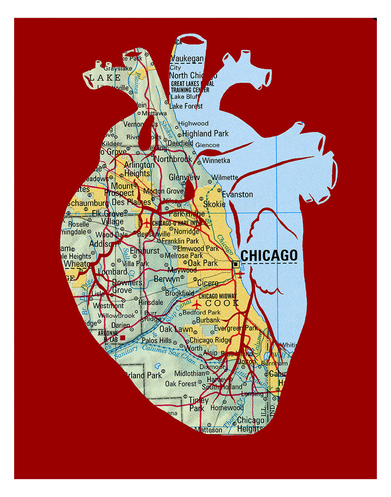 Chicago map art anatomical heart print red
