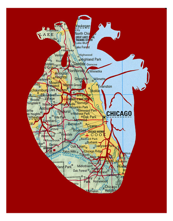 Chicago map art anatomical heart print black